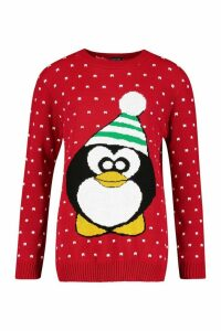 Womens Tall Penguin Christmas Jumper - red - S/M, Red