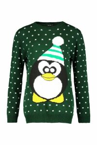 Womens Tall Penguin Christmas Jumper - green - M/L, Green