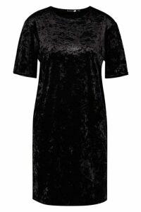 Womens Tall Crushed Velvet T-Shirt Dress - black - 12, Black