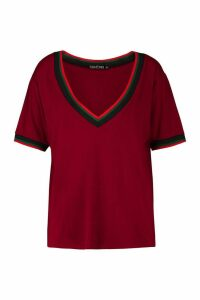 Womens Tall Sport Tape Tee - red - 10, Red