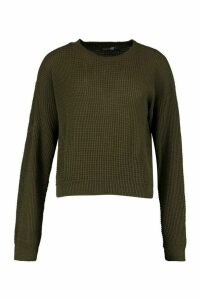 Womens Tall Crew Neck Crop Jumper - green - L, Green
