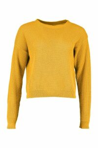 Womens Tall Crew Neck Crop Jumper - yellow - S, Yellow