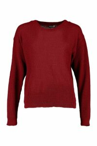 Womens Tall Crew Neck Crop Jumper - red - S, Red