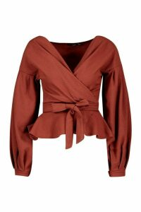 Womens Tall Off The Shoulder Blouse - brown - 12, Brown