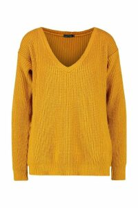Womens Tall Oversized V Front Jumper - yellow - 10, Yellow