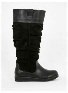 Wide Fit Black Slouchy High Leg Boots, Black