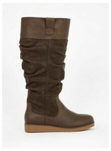 Wide Fit Brown Slouchy High Leg Boots, Brown