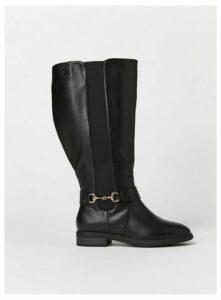 Extra Wide Fit Black Gold Trim High Leg Boots, Black