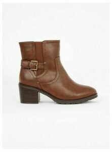 Extra Wide Fit Brown Heeled Buckle Ankle Boots, Brown