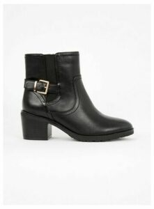 Wide Fit Black Heeled Buckle Ankle Boots, Black