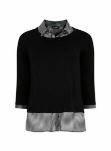 Black Dogtooth 2-In-1 Shirt, Black