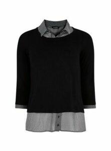 Black Dogtooth 2-In-1 Shirt, Black