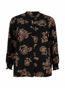Black Floral Print Shirt, Black