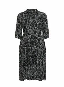 Black Monochrome Printed Shirt Dress, Black/White