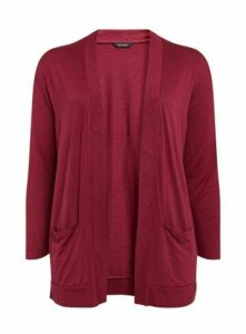 Berry Red Jersey Cardigan, Red