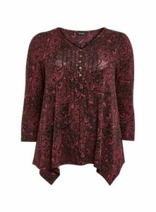 Berry Paisley Print Pintuck Top, Black