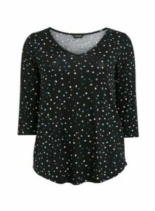 Black Abstract Spot Print Top, Black