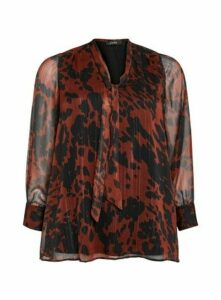 Rust Animal Print Pussybow Blouse, Rust