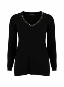 Black V-Neck Embellished Jumper, Black