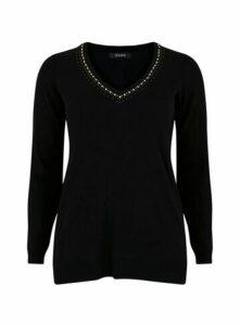 Black V-Neck Embellished Jumper, Black