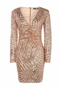 Womens Boutique Sequin Panelled Bodycon Dress - Beige - 10, Beige