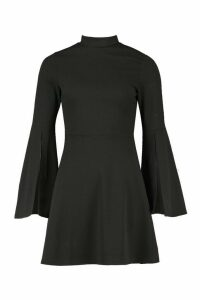 Womens High Neck Split Sleeve Skater Dress - black - 14, Black