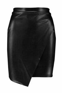 Womens Wrap Front Leather Look Mini Skirt - black - 10, Black