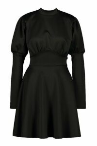 Womens Puff Sleeve High Neck Skater Dress - black - 16, Black