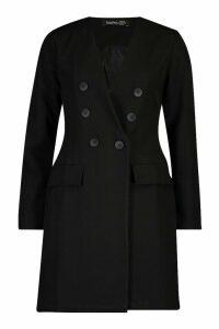 Womens Collarless Double Breasted Blazer Dress - black - 12, Black