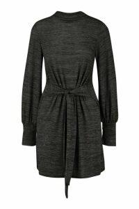 Womens Brushed Belted Shift Dress - grey - 16, Grey