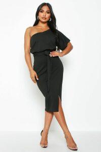Womens One Shoulder Batwing Midi Dress - black - 16, Black