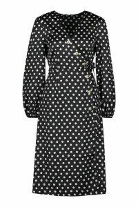 Womens Woven Spot Horn Button Wrap Midi Dress - black - 12, Black