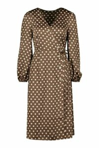 Womens Woven Spot Horn Button Wrap Midi Dress - brown - 10, Brown