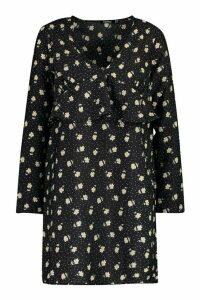Womens Polka Dot Floral Frill Smock Dress - black - 14, Black