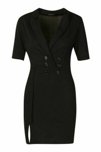 Womens Double Breasted Blazer Dress - black - 16, Black