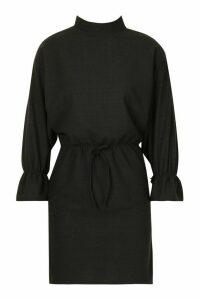 Womens Funnel Neck Tie Sleeve Detail Shift Dress - black - 16, Black