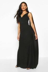 Womens One Shoulder Caped Maxi Dress - black - 10, Black