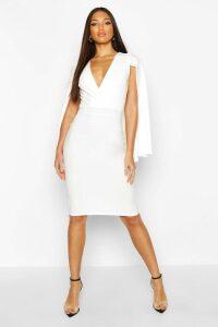 Womens Caped Wrap Midi Dress - white - 8, White