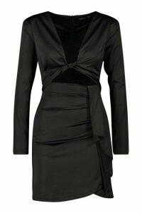 Womens Twist Cut Out Mini Dress - black - 10, Black