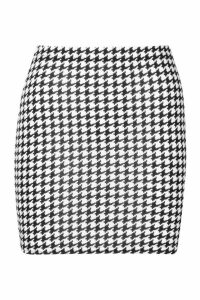 Womens Large Dogtooth Check Jersey Mini Skirt - black - 8, Black