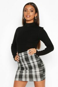 Womens Mono Check Jersey Mini Skirts - black - 16, Black