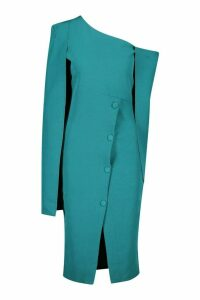 Womens Cape Detail One Shoulder Cover Button Dress - Green - 8, Green