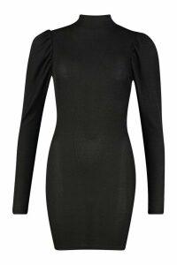 Womens Rib Heavy Weight Funnel Neck Mini Dress - black - 14, Black