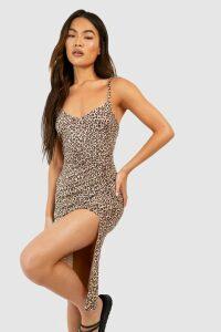 Womens Leopard Print Jersey Slip Midi Dress - Brown - 10, Brown