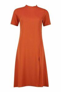 Womens High Neck Midi Dress - orange - 12, Orange
