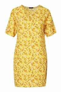 Womens Short Sleeve Floral Print Shift Dress - yellow - 16, Yellow