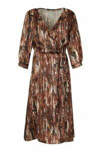 Womens Woven Leopard Wrap Sleeve Midi Dress - Beige - 12, Beige