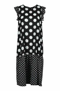 Womens Polka Dot Drop Hem Midi Dress - black - 6, Black