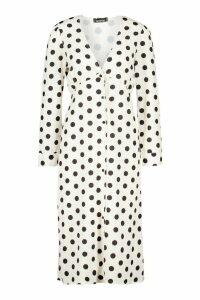 Womens Polka Dot Button Midi Skater Dress - white - 14, White