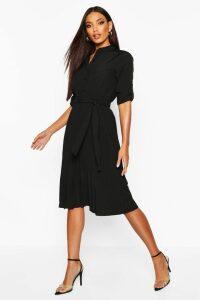 Womens Pleated Collarless Midi Skater Dress - Black - 16, Black